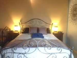 The beautiful, wrought iron bed in the Stellar Suite was forged in Victoria.
