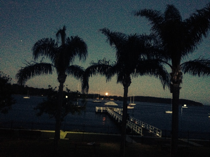 Full-moon rising over Batemans Bay